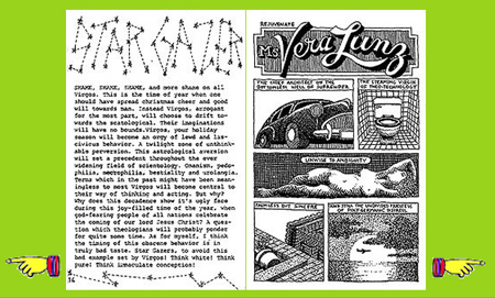 "Text by Elegance Fountains, image by M. Le Fuc. From ""Virulence,"" issue 2, January 1980. Public Illumination Magazine, published at 230 Grand Street 10013 ."